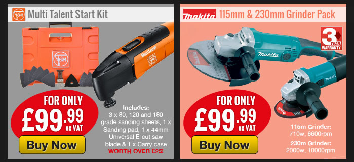 Fein Multi Talent Start Kit and Makita Grinder Pack