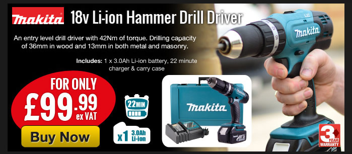 Makita Hammer Drill Driver DHP453RFX for £99.99