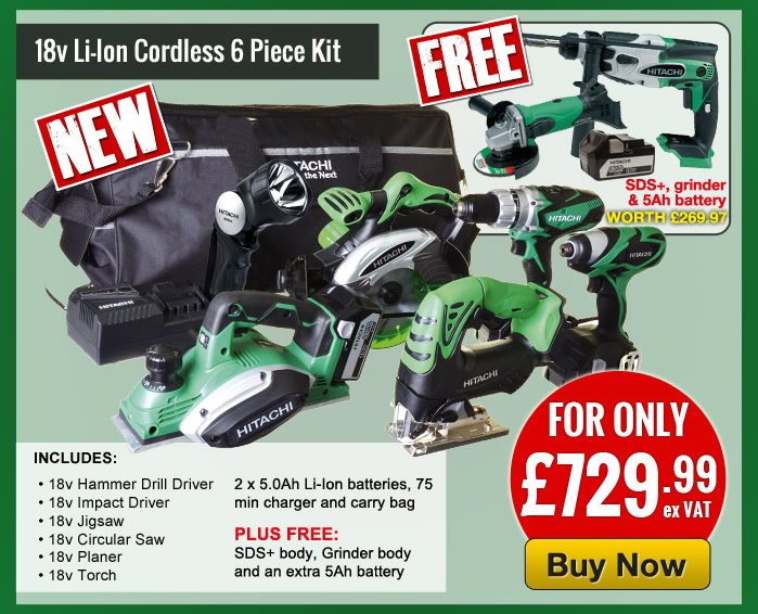 Hitachi 18v Li-ion 6 Piece Kit + SDS Drill + Grinder