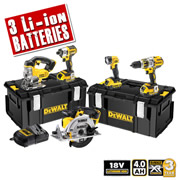Dewalt BXR5 Dewalt 18v 4.0Ah XR Brushless 5 Piece Pack (3 Speed Drill)