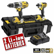 Dewalt DCK290M2 Dewalt 18v 4.0Ah XR Li-ion 2 Piece Pack (3 Speed Drill)