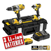 Dewalt DCK290M3 Dewalt 18v 4.0Ah XR Li-ion 2 Piece Pack (3 Speed Drill) (3 Batteries)
