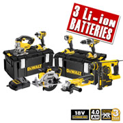 Dewalt XR7KITB Dewalt 18v 4.0Ah XR Li-ion Cordless 7 Piece Kit