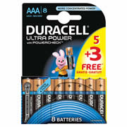 Duracell MX2400B5-3 Duracell Ultra Power AAA Batteries Pack of 8