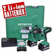 Hitachi KC18DGL/JE Hitachi 18v Li-ion 5.0Ah Cordless 2 Piece Kit and Screwdriver Bit Set