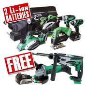 Hitachi KTL6PK Hitachi 18v Li-ion 6 Piece Kit + SDS Drill + Grinder