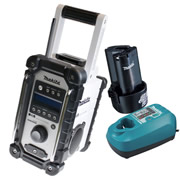 Makita DAB Jobsite Radio (White) Plus 10.8V Li-ion Battery and Charger