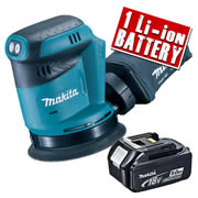 Makita DBO180Z5 Makita 18v Li-ion 125mm Orbital Sander Body + 1 x 5.0Ah Battery