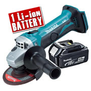 Makita DGA452-Z4 Makita 18v Li-ion 115mm Grinder Body + 1 x 4.0Ah Battery