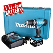 Makita DHP453RFX Makita 18v Li-ion 2 Speed Hammer Drill Driver