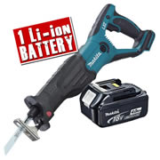 Makita DJR181Z4 Makita Li-ion 18v Recip Saw body + 1 x 4.0Ah Battery