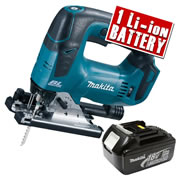 Makita DJV182Z3 Makita 18v Li-ion Brushless Jigsaw Body + 1 x 3.0Ah Battery