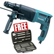 Makita HR2610T Makita 3 Mode SDS+ Rotary Hammer Drill with Keyless Quick Chuck