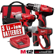 C12TRIPLE Milwaukee 12v Red Li-ion Cordless 3 Piece Kit MILC12TRIPLE