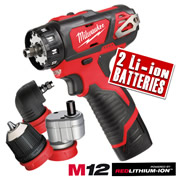 M12 BDDXKIT 202C Milwaukee 12v Li-ion 4 in 1 Drill Driver Kit MILM12BDDXKIT202C