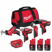 Milwaukee M12BPP4A203C Milwaukee 12v RED Li-ion Cordless 4 Piece Pack