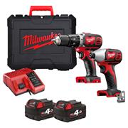 M18BPP2C402C Milwaukee 18v RED Li-ion 2 Piece Kit MILM18BPP2C402C
