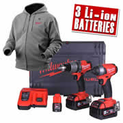Milwaukee M18 FFP2A523X Milwaukee 18v Next Gen Fuel Brushless 2 Piece Kit + 12v Heated Hoodie