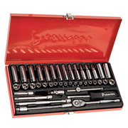 "Sealey AK690 Sealey Socket Set 41pc 1/4""Sq Drive 6pt WallDrive® - DuoMetric®"