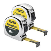 Stanley 0-33-527 Stanley Powerlock Metric Armour Blade Tape 8m Twin Pack