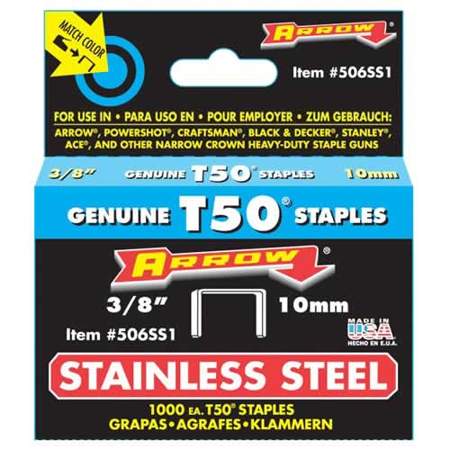 Arrow A506SS1 Arrow 10mm Stainless Steel Staples (1000)
