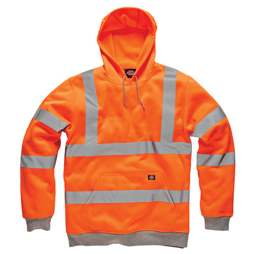 Dickies DICSA2001 Dickies Hi-Vis Hooded Sweatshirt (Orange)