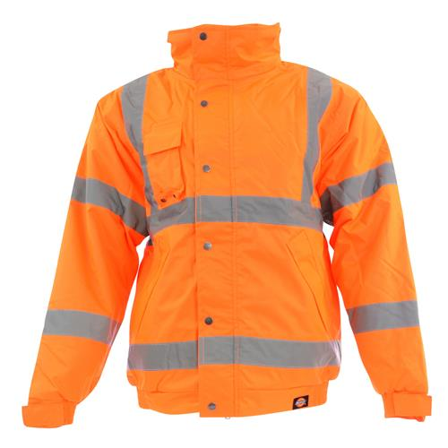 Dickies SA22050OR Dickies Hi-Vis Bomber Jacket (Orange)