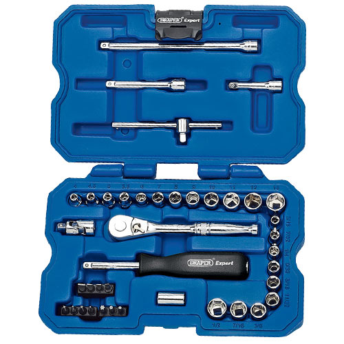 "Draper 02349 (B40AMN) Draper 40 Piece 1/4"" Square Drive MM/AF Combined Socket Set"
