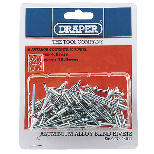 Draper 14011 (RIV) Draper Aluminium Blind Rivets (4.8mm) Pack of 50