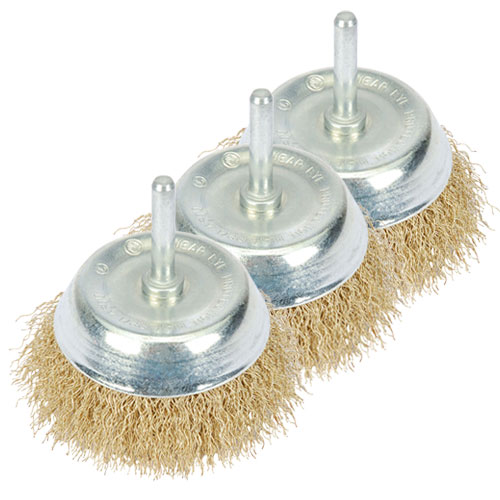 Draper 41433PACK (345P) Draper 75mm Hollow Wire Cup Brush for Drills Pack of 3