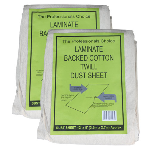Professional LAMBACK Laminated Twill Dust Sheet (12ft x 9ft) Twinpack