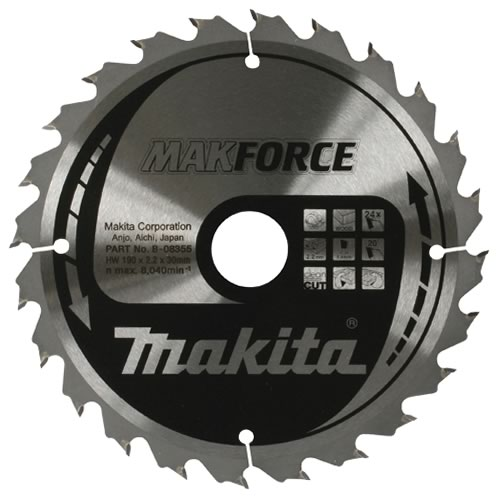 Makita B-08355 Makita 190mm 24 Tooth 'MAKFORCE' TCT Circular Saw Blade