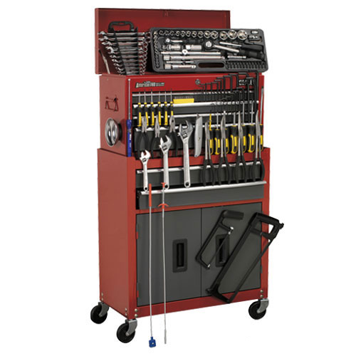 Sealey AP2200BB Sealey Tool Chest Combination 6 Drawer with Ball Bearing Runners - Red/Grey & 128pc Tool Kit