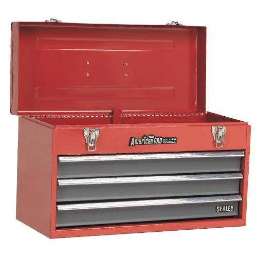 Sealey AP9243BB Sealey Topchest 3 Drawer Portable with Ball Bearing Runners - Red/Grey