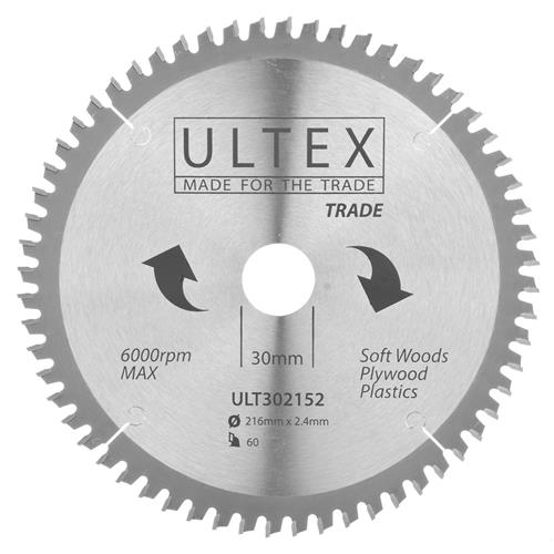 Ultex 302152 Ultex 216mm 60 Tooth TCT Trade Blade
