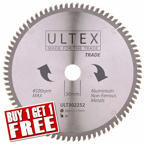 Ultex 302252 Ultex 260mm 80 Tooth TCT Trade Blade (Aluminium Cutting)