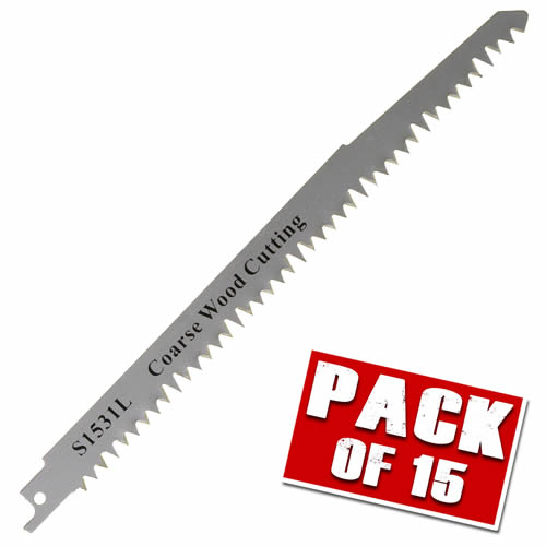 Vaunt VNT30031 Vaunt Pack of 15 Wood Cutting Reciprocating Saw Blades