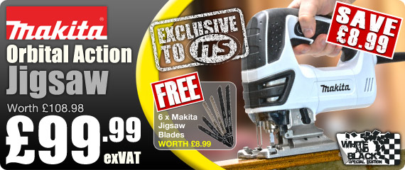 Makita Orbital Action Black and White Special Edition Jigsaw