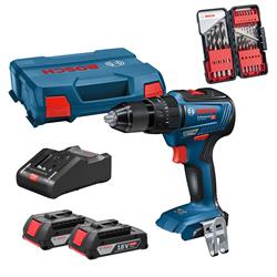 Bosch GSB 18V-55 18V Brushless Combi Drill with 2 x 2Ah Batteries, Charger and Case