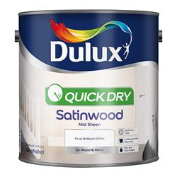 Dulux  Dulux Quick Dry Satinwood Pure Brilliant White Paint (2.5 Litre)