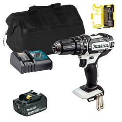 Makita DHP482WITS Makita DHP482WITS 18V LXT White Combi Drill with 1 x 3Ah Battery, Charger and Bag