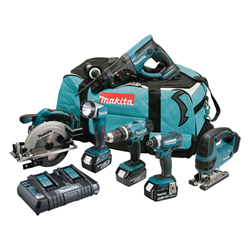 Makita DLX6068PT 18v LXT 6 Piece Kit with 3x 5Ah Batteries, Dual Charger and Bag