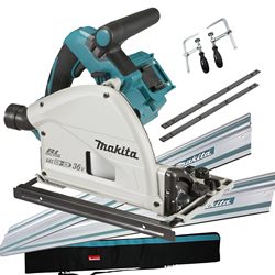 Makita DSP600ZJ-KIT3 Makita DSP600ZJ-KIT3 36v (Twin 18V) LXT Brushless Plunge Saw with 2 x Rails, Clamps, Bag and Case