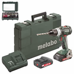 Metabo SB18LTBL Metabo SB18LTBL 18V Combi Drill with 2 x 2Ah Batteries, Charger and Case