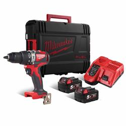 Milwaukee 18V Brushless Combi Drill with 2 x 5Ah batteries, Charger and Case