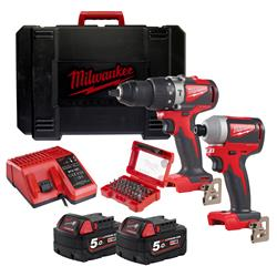 Milwaukee  18v M18 Brushless 2 Piece Kit with 2 x 5Ah Batteries, Charger, Case and Screwdriver Bit Set