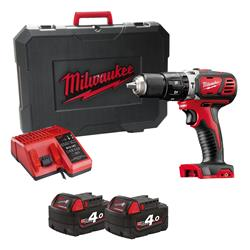 Milwaukee M18BPD-402C 18v M18 RED Combi Drill with 2 x 4Ah Batteries, Charger and Case