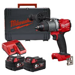 Milwaukee M18FPD2502X 18v M18 FUEL Combi Drill with 2 x 5Ah Batteries, Charger and Case