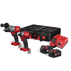 Milwaukee M18FPP2L2502P 18v M18 FUEL 2 Piece Kit with 2 x 5Ah Batteries, Charger and PACKOUT Case