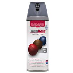 Plastikote 23102 Twist & Spray Matt 400ml Grey